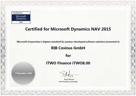 Certified for Microsoft Dynamics NAV iTWO Finance